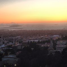 Sunset from the Big C of Berkeley and SF in background