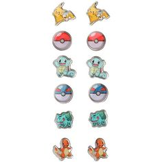Pokemon Starters Poke Balls Earrings 6 Pair Hot Topic ($8.40) ❤ liked on Polyvore featuring jewelry, earrings, multi color earrings, multicolor earrings, tri color earrings, ball jewelry and colorful earrings