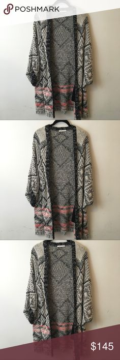 Maje Grey Coral Knit Cardigan Open Sweater Maje Sweater no size tag but fits most and has two pockets- Maje Sweaters