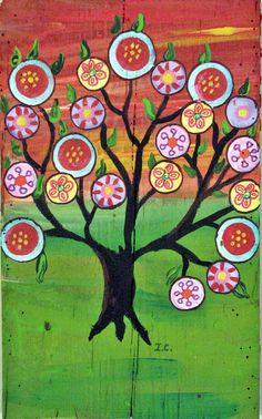 Tree of life Happy Tree Mexican Folk Art  Penny Tree  by icColors, $45.00
