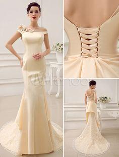 Bateau Neck Shoulder Flower Design Mermaid Court Train Wedding Dress For Bride With Low Back - Milanoo.com