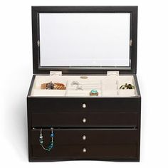 Mele & Co. Womens Java-Finish Glass-Top Jewelry Box