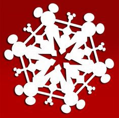 Mickey Mouse Snowflake Cut File More Más Diy Christmas Snowflakes, Mickey Mouse Christmas, Paper Snowflakes, Christmas Holidays, Minnie Mouse, Disney Diy, Disney Crafts, Snowflake Template, Paper Crafting