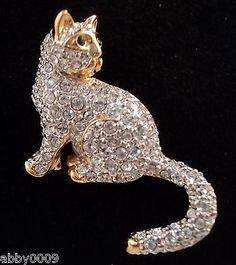 Signed Swan Swarovski Pave Cat Brooch Pin