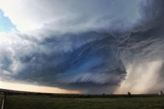 Structure of a lifetime. This is a 7-image panoramic photo, shot near the town of Dublin, Texas on April 25th, 2015. Also, cool note - see the blue streak reflecting in the clouds? Pretty wild.