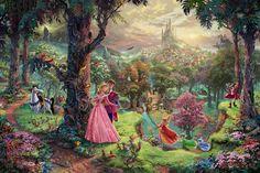 Disney Oil Paintings Thomas Kinkade Sleeping door ThomasArtwork, $30.00