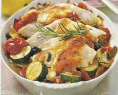 vis groentenschotel uit de oven - creme fraiche vervangen door sojaroom - boter vervangen door (olijf)olie - orig.rec.smulweb