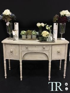 Thalia: Mirrored Back Sideboard Mahogany Sideboard, Annie Sloan Chalk Paint, Bespoke Furniture, Colorful Drawings, Solid Oak, Painted Furniture, Entryway Tables, Hand Painted, Colours