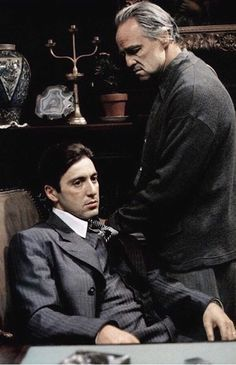 "Al Pacino & Marlon Brando in ""The Godfather"" Francis Ford Coppola, dir. Last Tango In Paris, Godfather Movie, Gangster Movies, Daniel Day, Day Lewis, Francis Ford Coppola, Al Pacino, The Best Films, Marlon Brando"