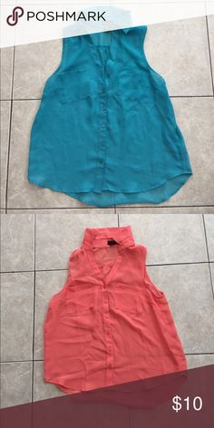 Two blouses You get both The short sleeve light blue and a salmon color Wet Seal Tops Tees - Short Sleeve
