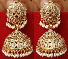 Ethnic Bollywood Jewelry Gold Tone White Indian Pearl Earrings Jhumka Jhumki #36garhiart #Stud