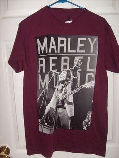 7110adc9 BOB MARLEY REBEL MUSIC MEN'S SIZE MEDIUM MAROON T SHIRT NEW SPENCER'S # SPENCERS #GraphicTee