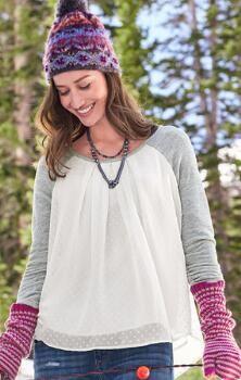 Relaxed, yet elegant, our Swiss dot raglan sleeve pullover shirt wears like a dream.