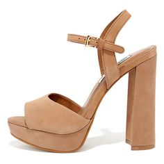 Steve Madden Kierra Camel Nubuck Leather Platform Heels ($99) ❤ liked on Polyvore featuring shoes, pumps, brown, strap pumps, brown shoes, wide platform pumps, steve-madden shoes and brown platform pumps
