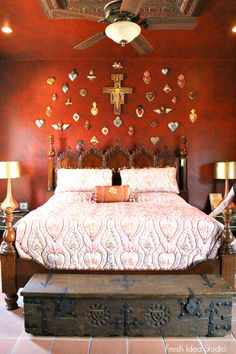 Dream Home Tour: a bed once owned by Cher herself graces the Guest Bedroom of Tom & June Simpsons dream home Summer hometour - My Interior Design Ideas Farmhouse Bedroom Furniture, Rustic Furniture, Lounge Furniture, Hacienda Decor, Mexican Hacienda, Mexican Home Decor, Mexican Style Bedrooms, Mexican Bedroom Decor, Inviting Home