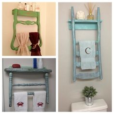 Repurpose Old wooden kitchen chair into towel rack with shelf.