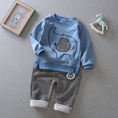 29.56$  Watch here - http://aiosc.worlditems.win/all/product.php?id=32797743847 - Korea style baby boys clothing set kids cute uniform clothes school birthday suits long sleeve animal shirt cotton striped pants