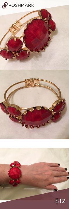 Spotted while shopping on Poshmark: RED & GOLD STONE CUFF BRACELET! #poshmark #fashion #shopping #style #Cati's Boutique  #Jewelry
