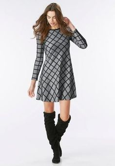 Windowpane Fit and Flare Dress-Plus A-line & Swing Cato Fashions