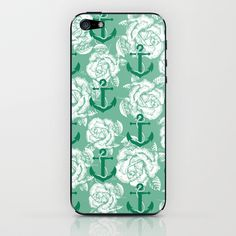 Roses & Anchors iPhone & iPod Skin by studio VII - http://society6.com/vivinicolin/Roses--Anchors_Phone-Skin