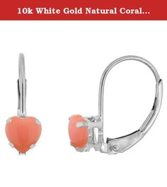 10k White Gold Natural Coral Leverback Earrings 5mm Heart Shape 1 ct, 9/16 inch. Simplicity of design has nothing to do with cost, and everything to do to bringing out and highlighting the natural beauty of things, and in this case a beautiful matched pair of genuine gemstones. To highlight your mood, match the color of your eyes or your outfit, or just simply to be your birthstones. These earrings are 10 karat gold. There are no earring backs to lose or fuss with, and there are no sharp...
