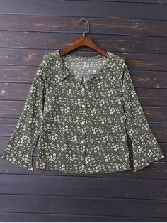 Button Up Floral Flare Sleeve Shirt - GREEN S