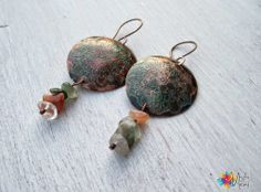 Lace earrings: etching copper, chips stones
