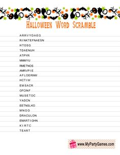 halloween word scramble game with cats and bats graphics - Halloween Word Game