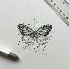 inspirational butterfly tattoo drawings, geometric tattoos, butterfly tattoo ideas for inspiration A Kunst Tattoos, Tattoo Drawings, Body Art Tattoos, New Tattoos, Art Drawings, Tatoos, Tattoo Sketches, Xoil Tattoos, Forearm Tattoos