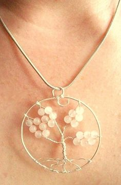 £8.50 Tree of Life Rose Quartz necklace by Onuava on Etsy