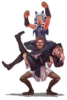 """- silvereddaye: Draw the Squad: NEW CLONE WARS SEASON SQUAD The song """"The Boys are Back in Town"""" kept playing in my head while I was drawing this (Anakin is just like """"Yes, just look at my hair."""") Draw the squad base here. Star Wars Fan Art, Star Wars Witze, Star Wars Jokes, Star Wars Gifts, Draw The Squad, Star Wars Rebels, Clone Trooper, Chewbacca, Ewok"""