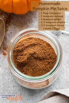 It's cheaper and tastes better to make your own Pumpkin Pie Spice using simple pantry spices! Use this substutute in any recipes that call for Pumpkin Pie Spice! Easy Pumpkin Pie, Homemade Pumpkin Pie, Baked Pumpkin, Pumpkin Dessert, Pumpkin Pie Spice, Sauce Recipes, My Recipes, Dessert Recipes, Kid Friendly Meals
