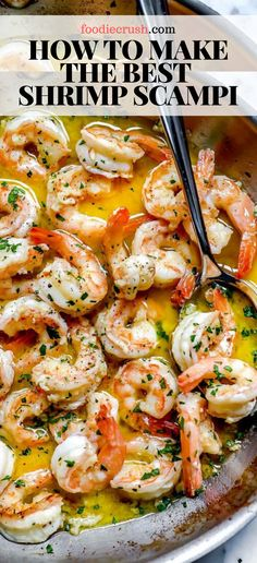 This shrimp scampi recipe is the BEST way to make easy look elegant with shrimp bathed in a garlicky, lemony butter sauce over pasta, zoodles, or rice. Shrimp Recipes For Dinner, Shrimp Recipes Easy, Seafood Dinner, Fish Recipes, Seafood Recipes, Cooking Recipes, Healthy Recipes, Seafood Appetizers, Recipes With Cooked Shrimp