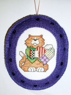 Cross Stitched Christmas Fat Cat Ornament with Felt Border by ChoctawRidgeDesigns on Etsy