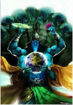 Vishnu Earth Canvas Art Print by Vimanika Arts. - Prints for Sale online in India. Krishna Tattoo, Krishna Art, Hare Krishna, Lord Shiva Hd Wallpaper, Lord Krishna Images, Krishna Pictures, Lord Vishnu, Walpapers Hd, Shree Krishna Wallpapers