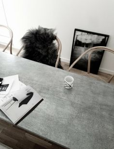Beautiful concrete table. You can make your own or have it made at an affordable price. Visit www.diyconcreteworktops.com