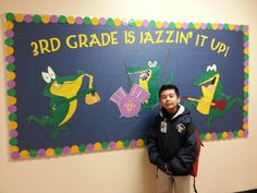 Mardi Gras bulletin board I made for my son's class