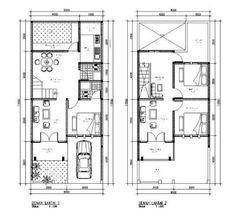 denah rumah minimalis 2 lantai type 120 Town House Plans, House Layout Plans, Small House Plans, House Layouts, Home Design Plans, Shed Plans, Simple House, Autocad, Furniture Design