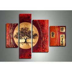 Extra Large Painting, Tree of Life Painting, Red Abstract Painting, 4 – Art Painting Canvas Tree Of Life Painting, Large Painting, Oil Painting Abstract, Abstract Wall Art, Hand Painting Art, Oil Paintings, Landscape Paintings, Multi Canvas Painting, Acrylic Paintings