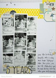 5 years by beckynovacek at @Studio_Calico, 9 photos in strips of 3, scrapbook page