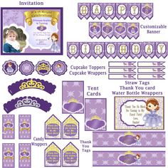 Sophia The First Birthday Party Pack! ! JPEG 300 dpi Printable DIY! Sophia the first princess birthday party tiara Purple Princess download on Etsy, $20.00
