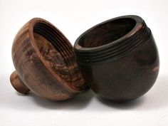 LV-2651 Milo Burl & Curly Koa Wooden Acorn Jewelry Box, Pill Box, Trinket Box-SCREW CAP