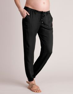 Black Summer Slouchy Maternity Trousers | Seraphine