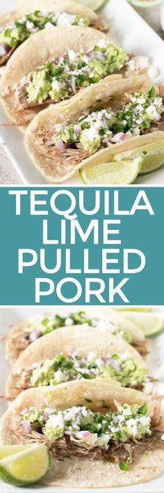 Tequila Lime Pulled Pork Tacos   cakenknife.com