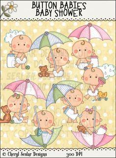 Button Babies Baby Shower 1 - Clip Art by Cheryl Seslar