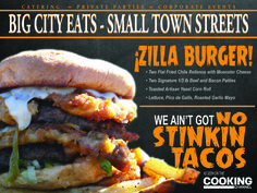 Chef Toddzilla's Zilla Burger Green chili fried w cheese - ground bacon in beef for patty