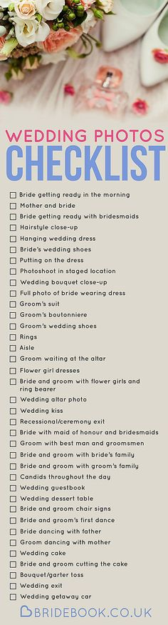 Bridebook wedding photos checklist