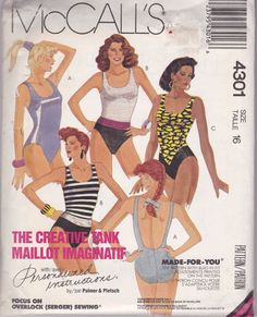 McCall's Sewing Pattern 4301One Piece Swimsuits Size 16 Uncut FF New #McCalls