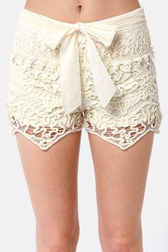 Lost Coronado Shorts - Cream Shorts - Crochet Shorts - Lace Shorts - $40.00