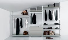 corner walk-in wardrobe for sloped ceilings, The adaptor kits allows fastening to the wall, sloped ceiling or drywall ceiling.